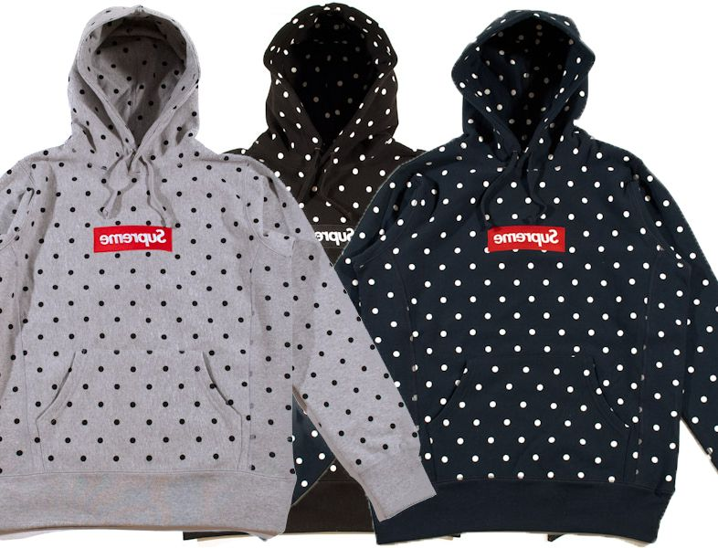 Supreme SS12 Comme Des Garcons Box Logo Hoodie Sweater (3 color) tee