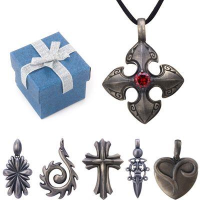 Gunmetal Pewter Pendant Mens Leather Necklace 16  18