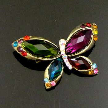 ADDL Item  1pc antiqued rhinestone crystal butterfly