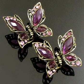 2p rhinestone crystal Antiqued butterfly hair claw clip