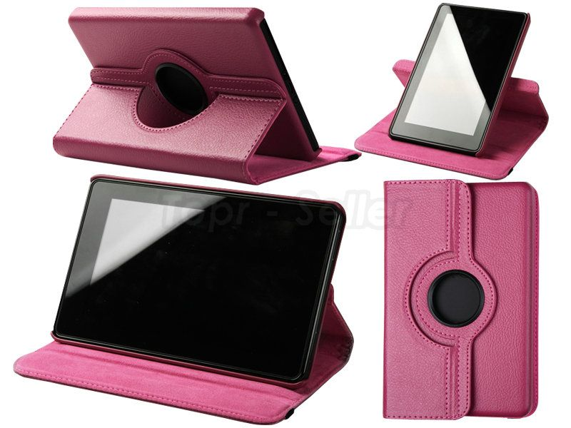 For Kindle Fire Leather Case Cover Skin/Car Charger/USB Cable/Stylus